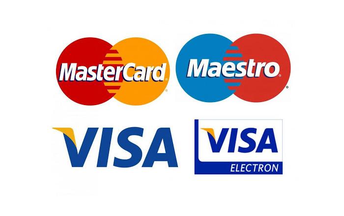 carte di credito VISA, Mastercard, Maestro
